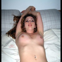 Nude On Bed - Naked In Bed, Pierced Nipples, Small Nipples