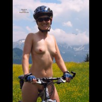 Naked Girl On A Mountain Bike - Erect Nipples, Landing Strip, Small Tits, Sunglasses, Naked Girl, Nude Amateur