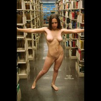 Nude Girl Standing In Library - Dark Hair, Exhibitionist, Flashing, Nude In Public, Shaved Pussy, Naked Girl, Nude Amateur
