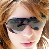 Photographer Reflection In Sunglasses - Brown Hair, Red Hair, Sunglasses, Naked Girl, Nude Amateur
