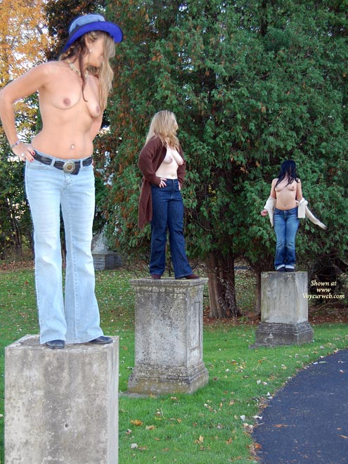 Pic #1 - Three Topless Exhibitionists On Stone Pedestals By Road - Exhibitionist, Flashing, Natural Tits, Topless , Jeans, Live Statues Topless, Living Monuments, Naked On A Pedestal, Three Sets Of Natural Tits, Three Topless Girls On Pedestals, Live Art On Pedestals, Three Girls Comparing Tits In A Garden, Tits And Jeans