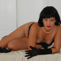 Sultry Reclined Pose On Bed - Black Hair, Perky Tits, Red Hair, Small Breasts, Small Tits, Looking At The Camera