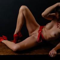 Naked Brunette With Medium Boobs And Landing Strip On Desk - Brunette Hair, Dark Hair, Erect Nipples, Heels, Landing Strip, Naked Girl, Nude Amateur