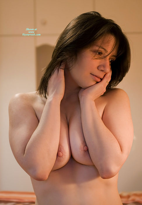 Pic #1 - Topless Portrait - Brown Hair, Huge Tits, Topless , Pushed Together Tits, Sexy Pose, Peeking Nipples, Semi Erect Nipples, Squeezed Tits, Topless Girl