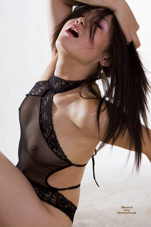 """Pic #1 - Asian Posing """"O"""" Face - Black Hair , Sheer Lingere', Over Dramatic Pose, Shear Black Camisol/choaker, Art Shot, Asian Leaning Back, Head Back Open Mouth, Small Titties, Dressed In Net"""