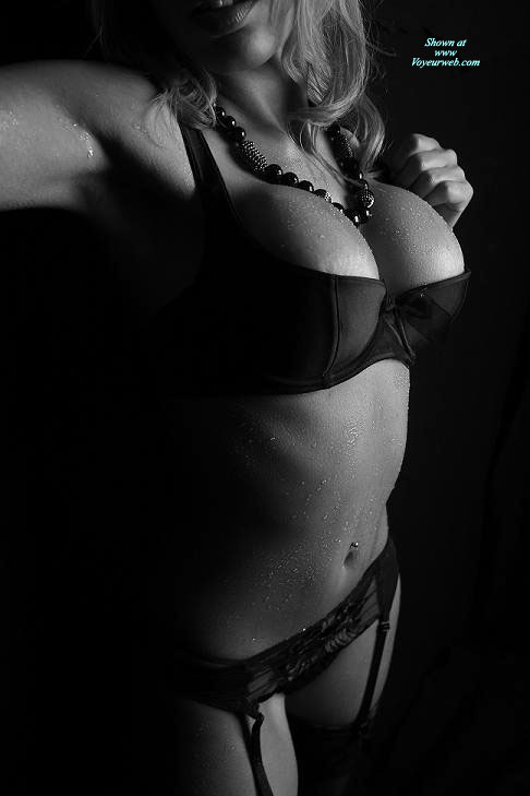 Pic #1 - Bursting Out Of Bra In Black And White - Big Tits, Large Breasts, Stockings , Beautiful Bust Line In Black, Black Shelf Bra, Black Push Up Bra, Black Garter Belt, Black And White, Pierced Belly Button, Big Tits In Bra, Cup Is Definately Full, Standing With Chest Out, Wet Skin