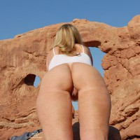 Derrier Shot From Below - Blonde Hair, Round Ass, Shaved Pussy, Trimmed Pussy