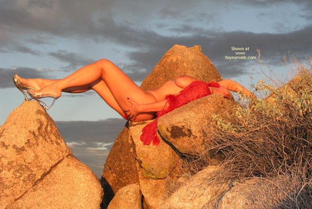 Pic #1 - Girl Outdoors On Rocks - Artistic Nude , Girl Outdoors On Rocks, Red Feathers, Artistic Nude, Clear Strap Heels