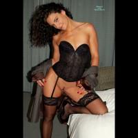 Black Lace Corset - Black Hair, Heels, Landing Strip, Stockings