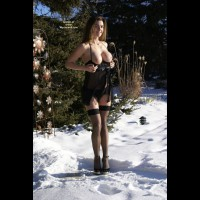Sexy In Snow - Big Tits, Heels, Long Legs, Natural Tits