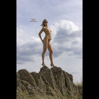 Naked Girlfriend On High Heels Staning On A Rock - Blonde Hair, Heels, Long Hair, Sunglasses