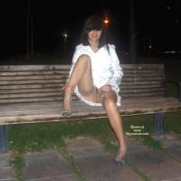 Brunette Sitting On Bench In White Dress And No Panties - Brown Hair, Brunette Hair, Dark Hair, Heels, Spread Legs, Naked Girl, Nude Amateur