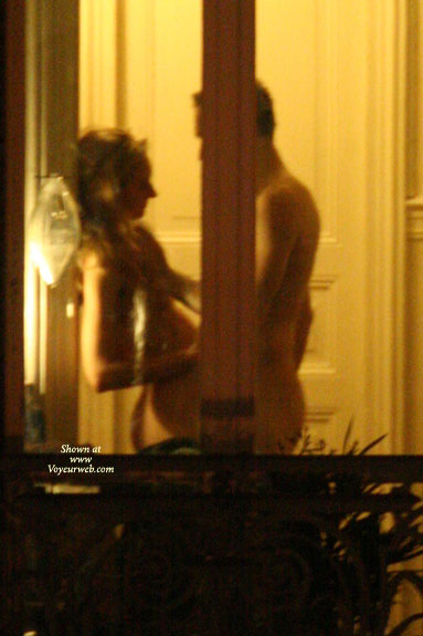 Pic #1 - Voyeur Neighbor Peeping Tom - Exhibitionist , Naked Couple, Couple Standing Naked In Window, Voyeur Sex, Lovemaking By The Window, Side View Through Glass Door, Voyeur Couple, Exhibitionist Caught On Film