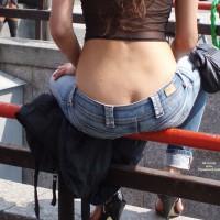 Voyeur Shot Of Low Jeans - Heels