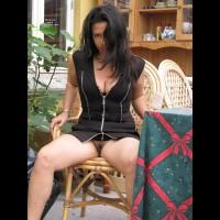 Pantyless Girl Flashing Her Pussy - Black Hair, Dark Hair, Flashing, Long Hair, Trimmed Pussy