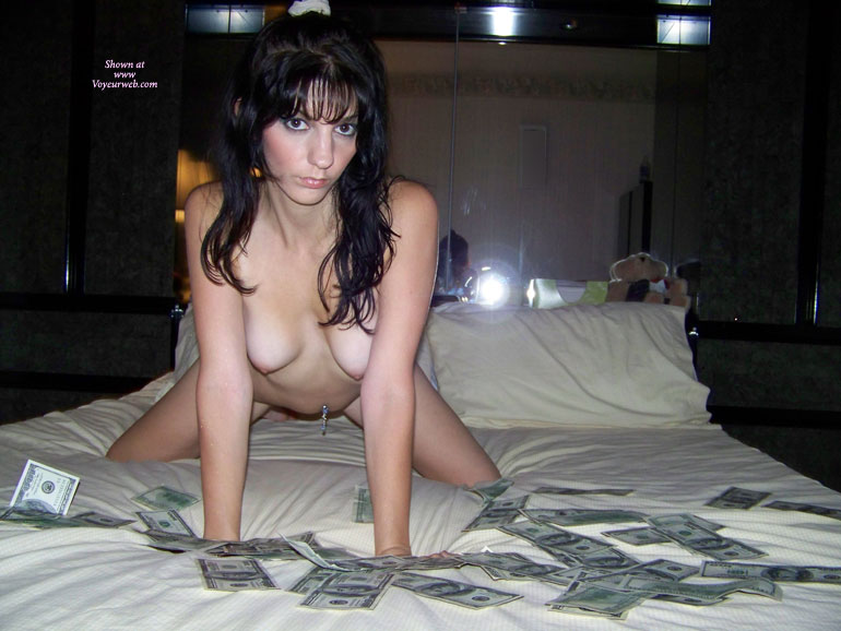Pic #1 - Money And Sex - Dark Hair, Doggy Style, Long Hair, Small Breasts, Small Tits , Reverse Wfi, Belly Button Piercing, Doggy Dollar Pose, Pierced Naval, Nice Small Titties, Hanging Breasts
