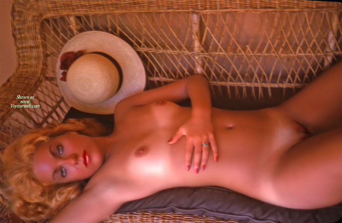Pic #1 - Curly Blonde Nude With Hat - Blonde Hair, Blue Eyes, Landing Strip, Long Hair, Natural Tits, Tan Lines, Naked Girl, Nude Amateur , Nude On Wicker Love Seat, Smaller Natural Tits, Plump Lips, Hour Glass Shaped Body, Nude On Wicker With Dreamy Blue Eyes, White Untanned Tits, Bald Pusy, Nude With Hat On Wicker Couch