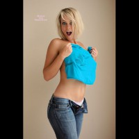 Topless Blonde In Jeans With Big Breasts - Blonde Hair, Tan Lines, Topless
