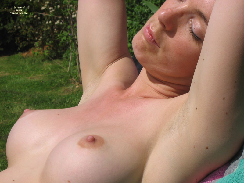 Pic #1 - Topless Sunbathing - Erect Nipples, Firm Tits, Perky Tits, Topless , Pretty Face, Luscious Nipples, The Boobs Are Out, Smooth Body, Close-up Tits, Great Perky Tits, Closed Eyes