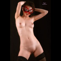 Shaved Asian Girl In Red Feather Mask Standing - Shaved Pussy, Small Tits, Stockings, Naked Girl, Nude Amateur