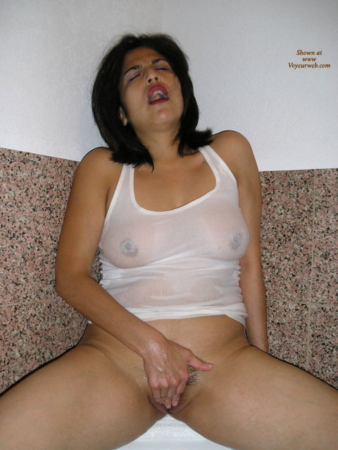 Pic #1 - Fingering Pussy , White Wet T-shirt, Full Frontal Shot, At The Peak Of Her Own Pleasure, Wet T-shirt, Rubbing Her Own Clit, White Wet Tank Top, Woman Having Orgasm, Orgasmic Look On Her Face, Cupping Her Pussy, Bottomless