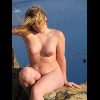 Posing By The Lake - Blonde Hair, Dark Hair, Erect Nipples, Navel Piercing, Nude Outdoors, Perfect Tits, Naked Girl, Nude Amateur