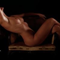 Nude Sitting Sideways On Armchair - Brown Hair, Erect Nipples, Large Breasts, Long Hair, Naked Girl, Nude Amateur