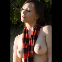 Topless Girl Outside In Sun And Shadows - Dark Hair, Hard Nipple, Large Breasts, Long Hair, Pale Skin, Perfect Tits, Topless