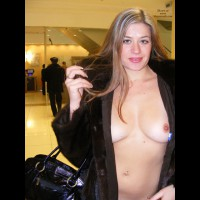 Nude Girl Wearing Mink Coat Flashing Breast At Airport - Black Hair, Blonde Hair, Blue Eyes, Flashing, Long Hair, Natural Tits, Navel Piercing, Nude In Public, Perfect Tits, Naked Girl, Nude Amateur