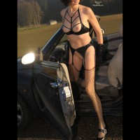 Naked Fetish Girl And A Car - Long Legs, Perky Nipples, Shaved Pussy, Stockings